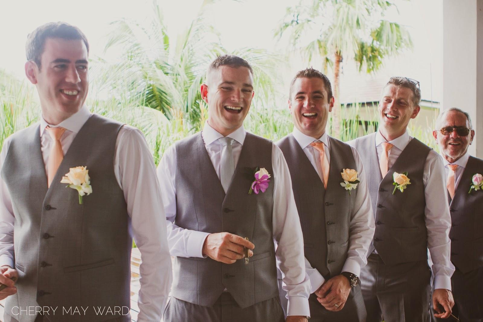 Groom and groomsmen portraits, guys having fun, laughing together, grooms photos, wedding portraits on Koh Samui,
