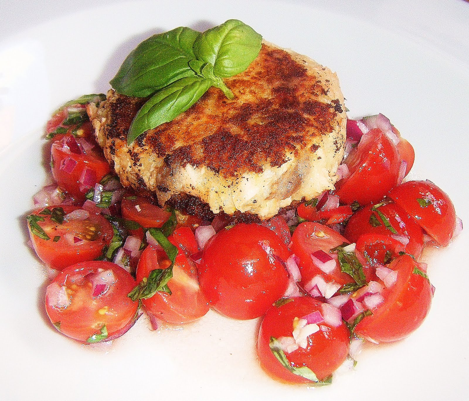 Hot Smoked Salmon Fishcakes with Tomato Salsa