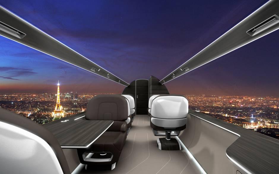 Avião com painéis internos