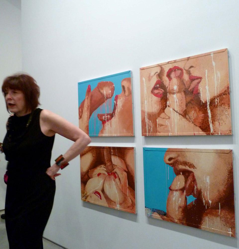 Marilyn Minter e a obra Porn Grid 1989, esmalte sobre metal
