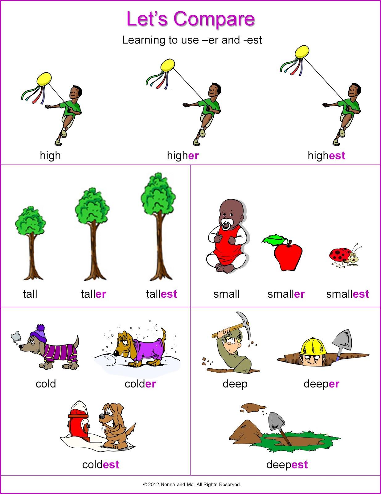 Adjective Worksheets Using Er And Est Kidz Activities