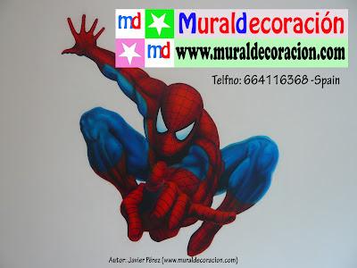 Spiderman decoracion de habitacion infantil lanzando seda