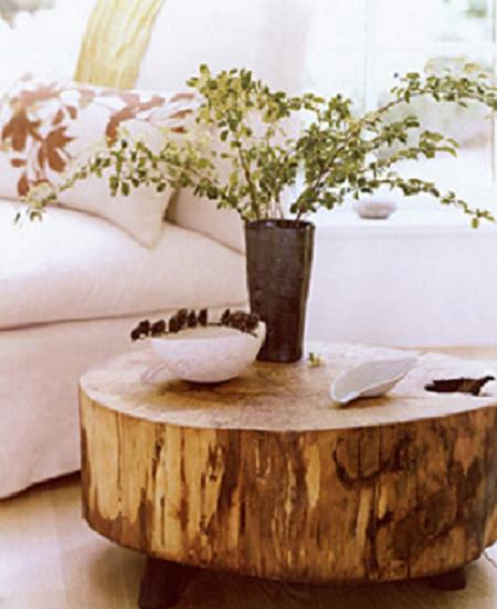 Arte en el desv n protagonismo natural decora con troncos - Mesas de troncos de madera ...