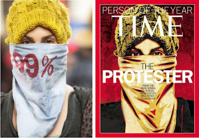 Original photo is a white woman with a knit hat and 99% stenciled on her face covering, no background in focus; cover illustration has no 99% on covering and added elements of conflict in background
