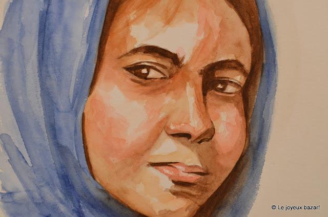 portrait de femme - aquarelle