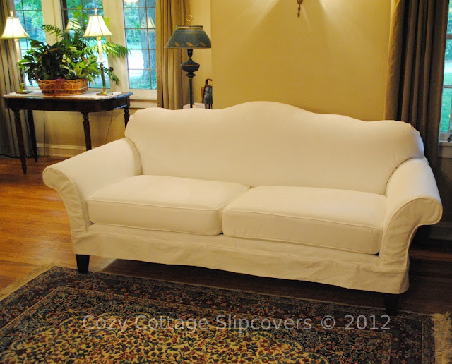 Cozy Cottage Slipcovers Camel Back Sofa