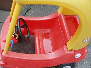 Little Tikes Cozy Coupe interior.