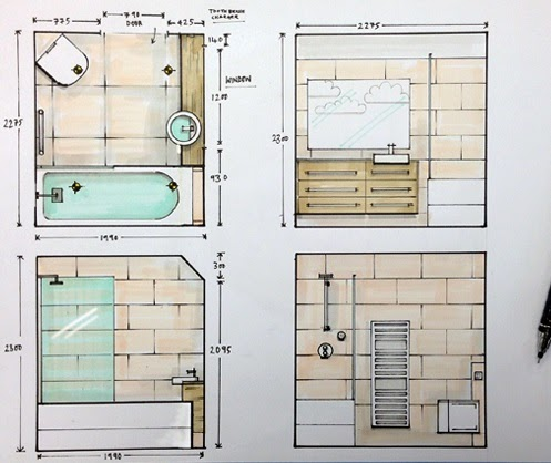 Bathroom Design Drawings Home Decorating Ideasbathroom Interior Design