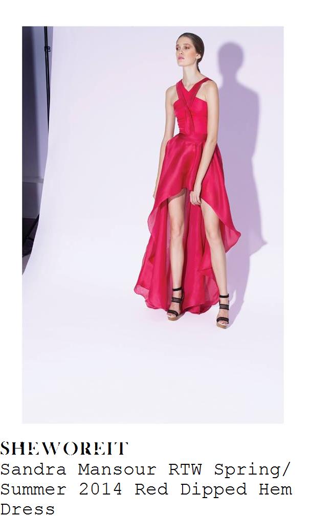 nicole-scherzinger-red-dipped-hem-dress-x-factor