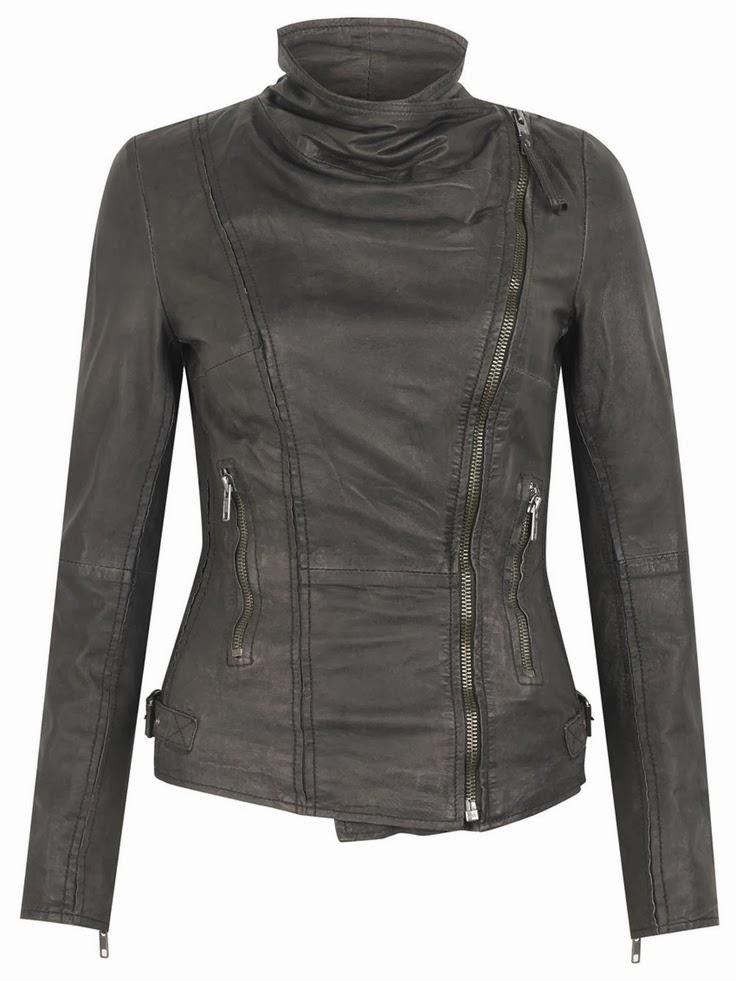 Leather Biker Jacket in Storm Grey