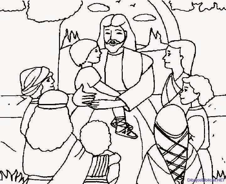 Dibujos cristianos: Jesus ora por los niños para colorear ~ Dibujos ...