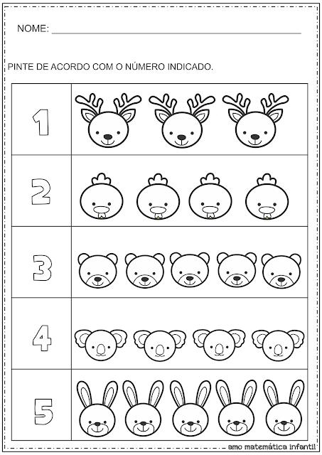 Número e Quantidade Pintura Animais Atividade