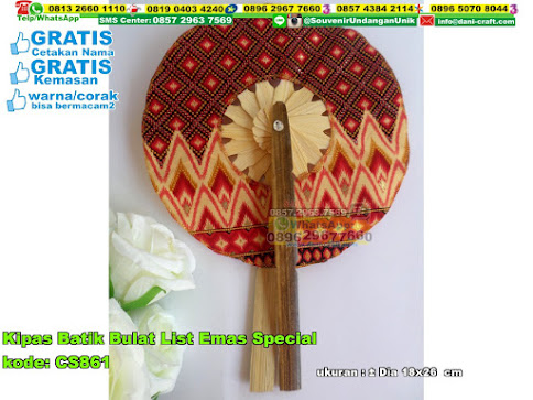 Kipas Batik Bulat List Emas Special