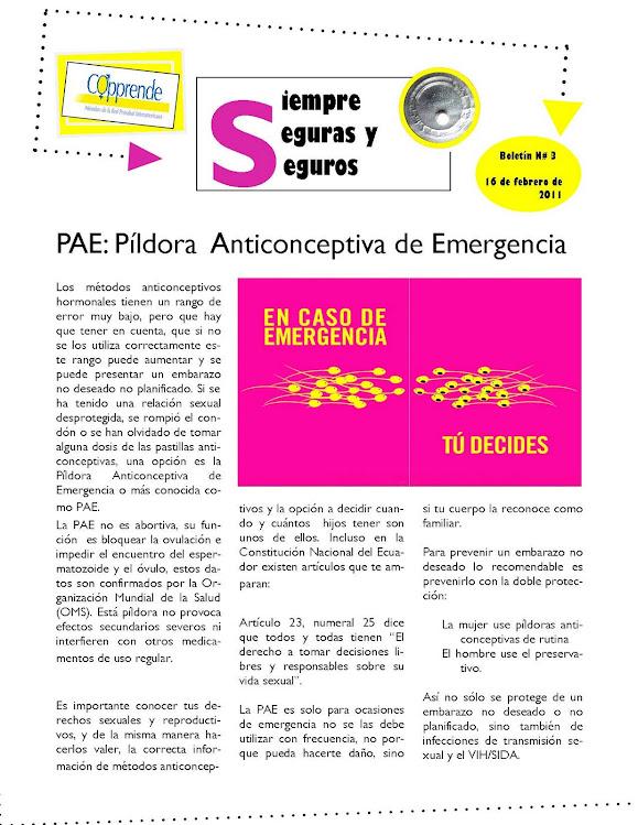 BOLETÍN PÍLDORA ANTICONCEPTIVA DE EMERGENCIA (PAE)
