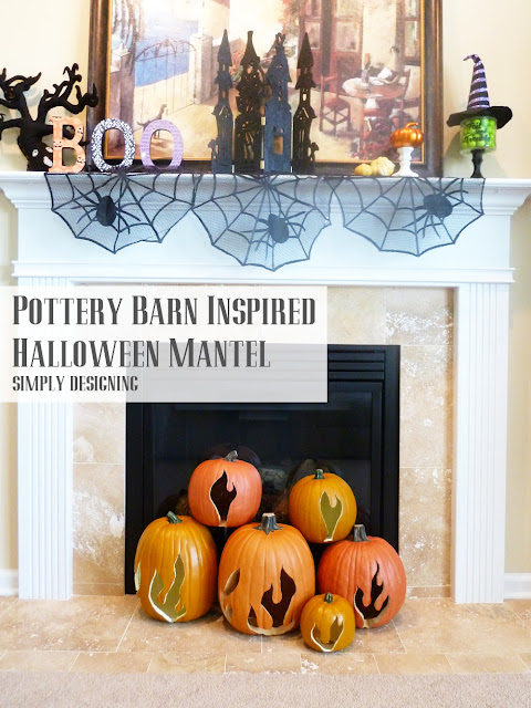Pottery Barn Inspired Halloween Mantel | #spookyspaces #pumpkins #pumpkincarving #halloween #funkins