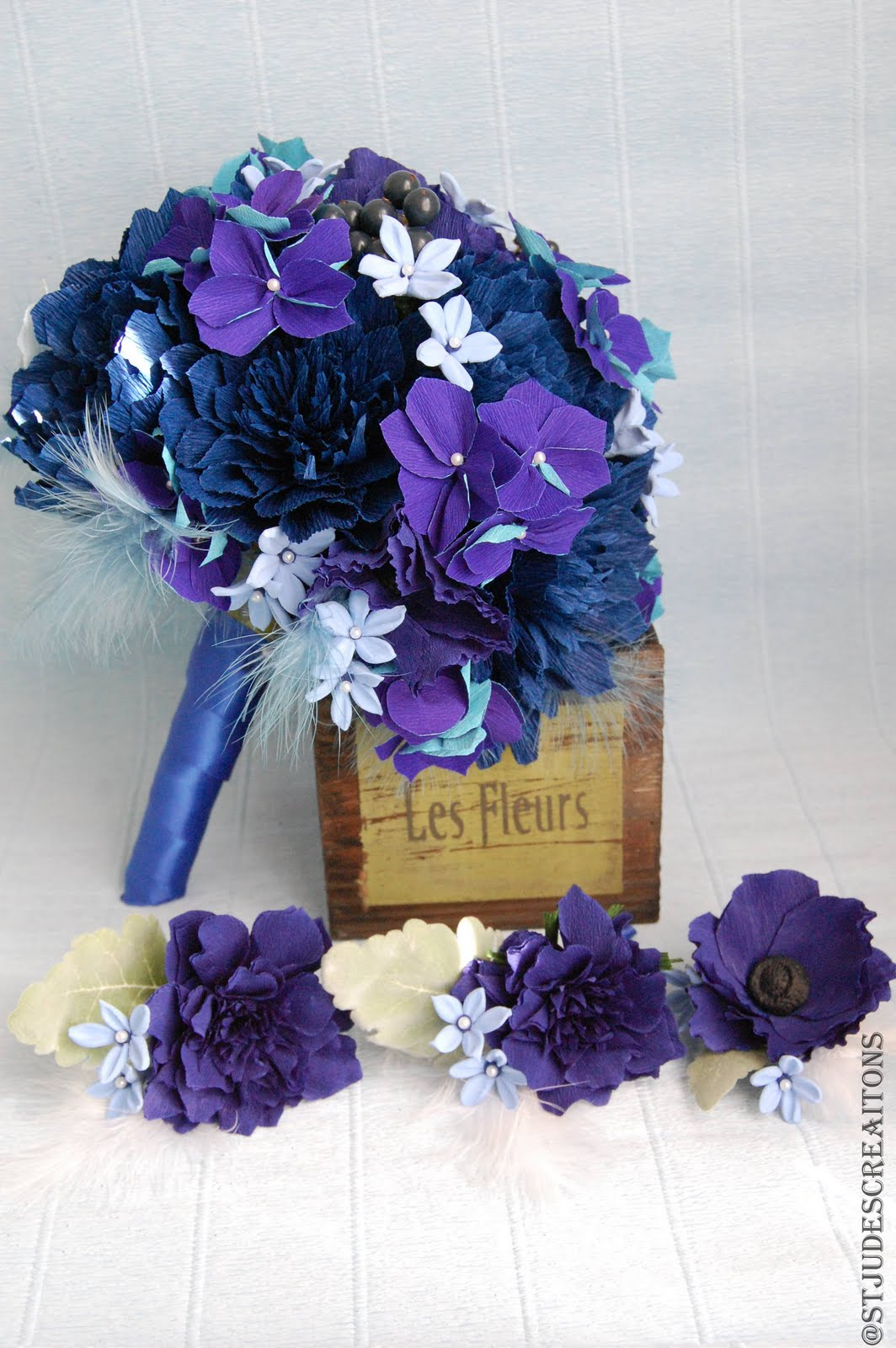 Midnight royal blue wedding bouquet paper flowers handmade paper the brides hold navy blue dahliaspeoniesbluish purple hydrangeasmidnight blue anemone and small pale blue filler flowers new one in my list izmirmasajfo Gallery