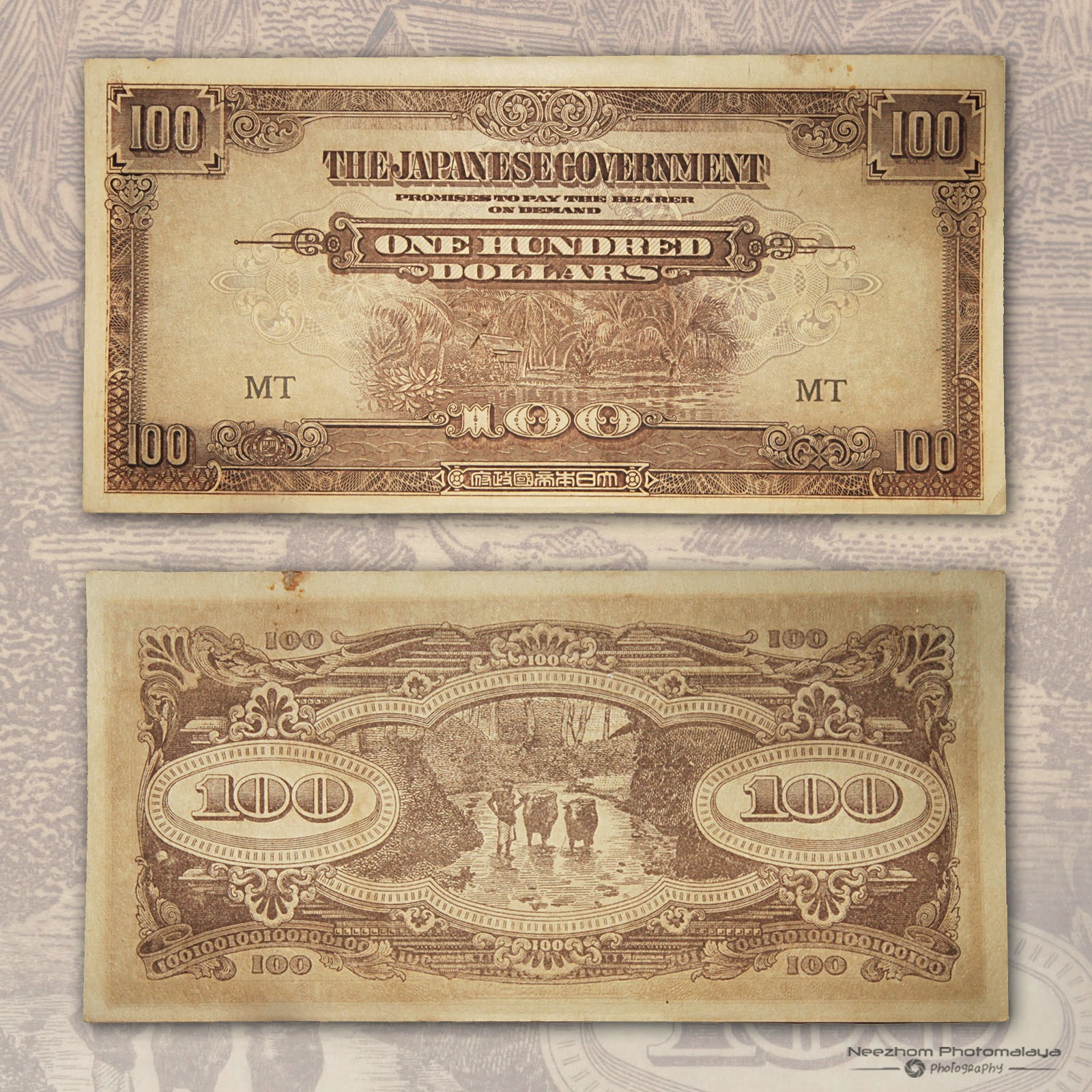 Malaya 100 Dollars Japanese Occupation paper money