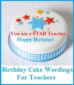 Birthday Cake Wordings Teachers