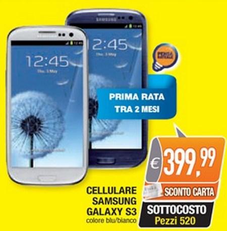 In promozione per i clienti con carta Unika il Samsung Galaxy S 3 a prezzo sottocosto nel volantino Oasi