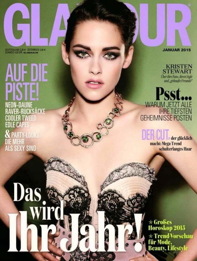 Kristen Stewart wears a strapless bustier for the Glamour Germany January 2015 cover