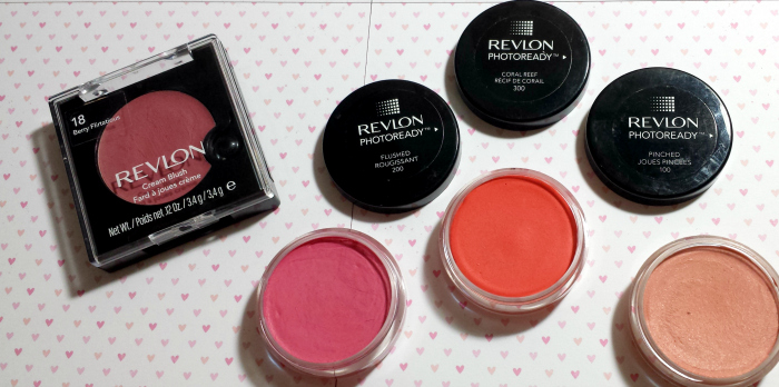 REVIEW swatchesRevlon PhotoReady Cream Blush, flushed, pinched, coral reef, berry flirtatious