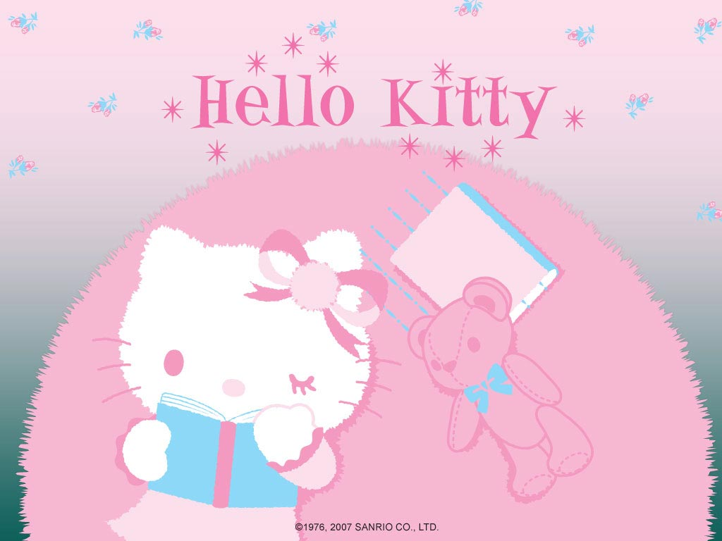 Beautiful Wallpaper Hello Kitty Love - lovely-hello-kitty-is-reading  Collection_15131.jpg
