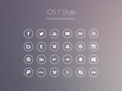 iOS 7 Style Social Meda Icons