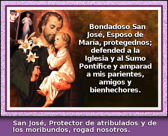 San jose con el divino niño jesusito, y santa faustina asomando la imagen de jesus grande con rayos de misericordia
