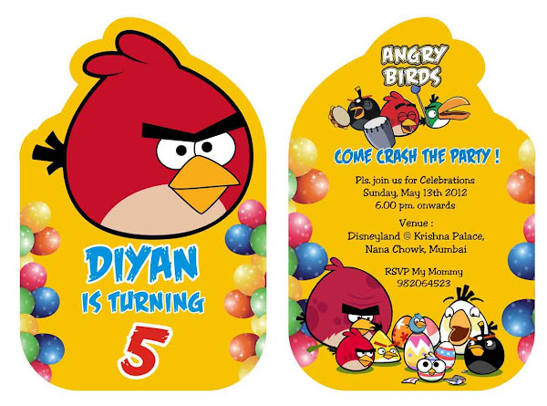 Angry Birds Birthday Party Invitation