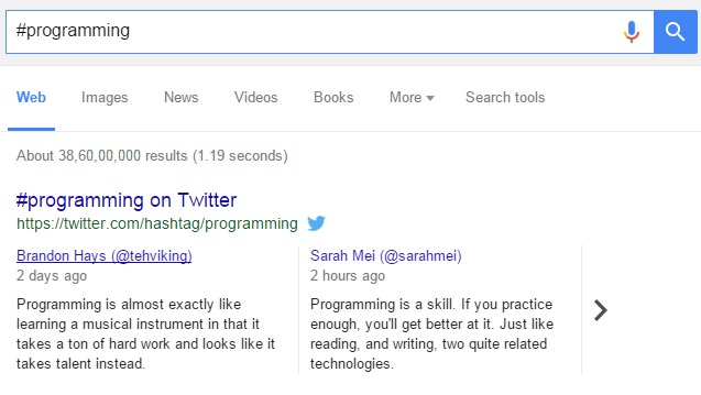 Live Tweets for your Hashtags in Google SERP