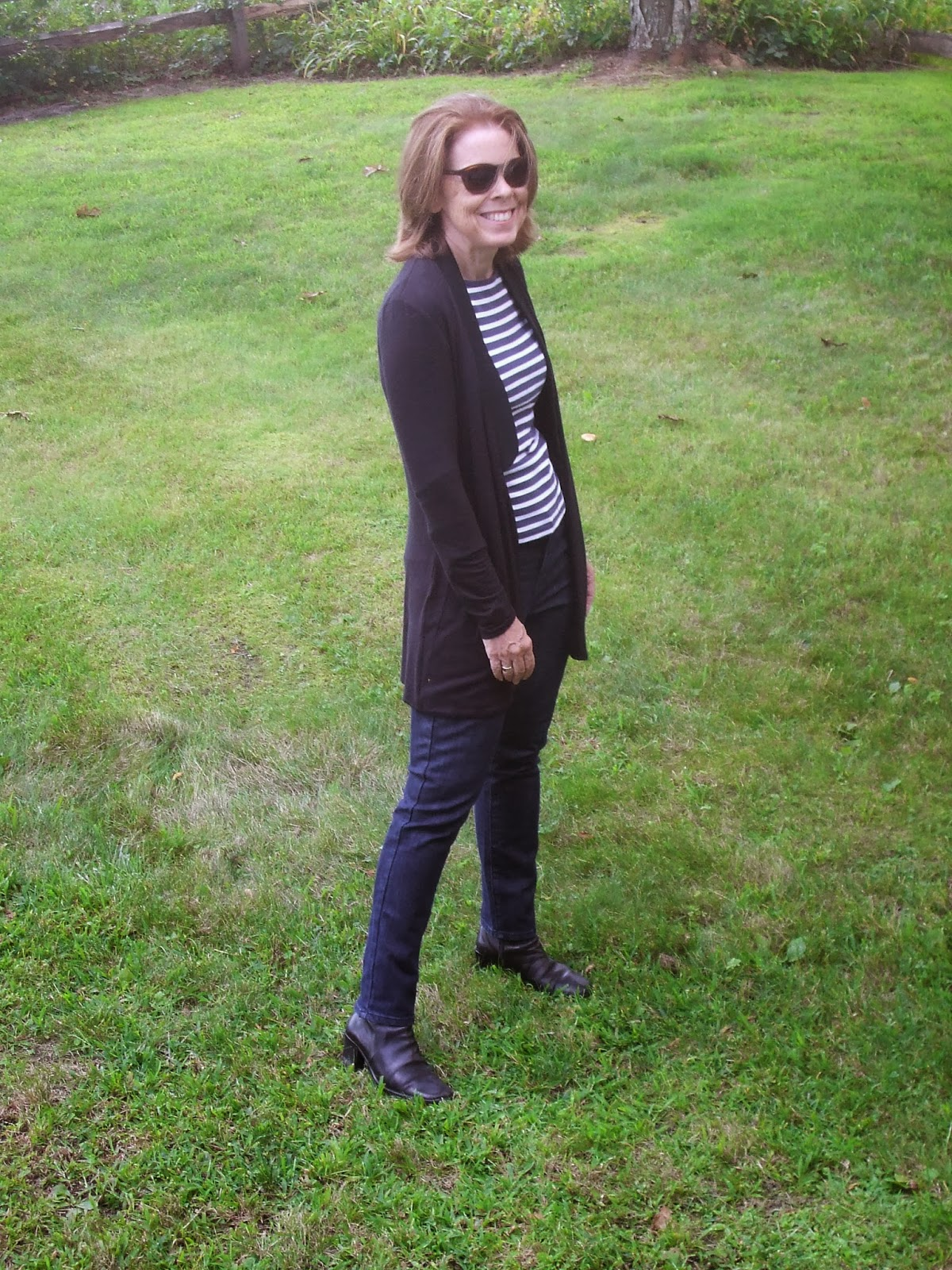 Stripe shirt and black cardigan for women over 50