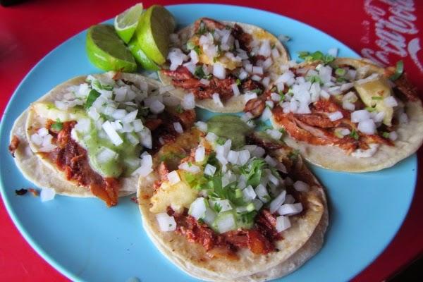 Tacos al Pastor in Tulum, Mexico.  Yum.