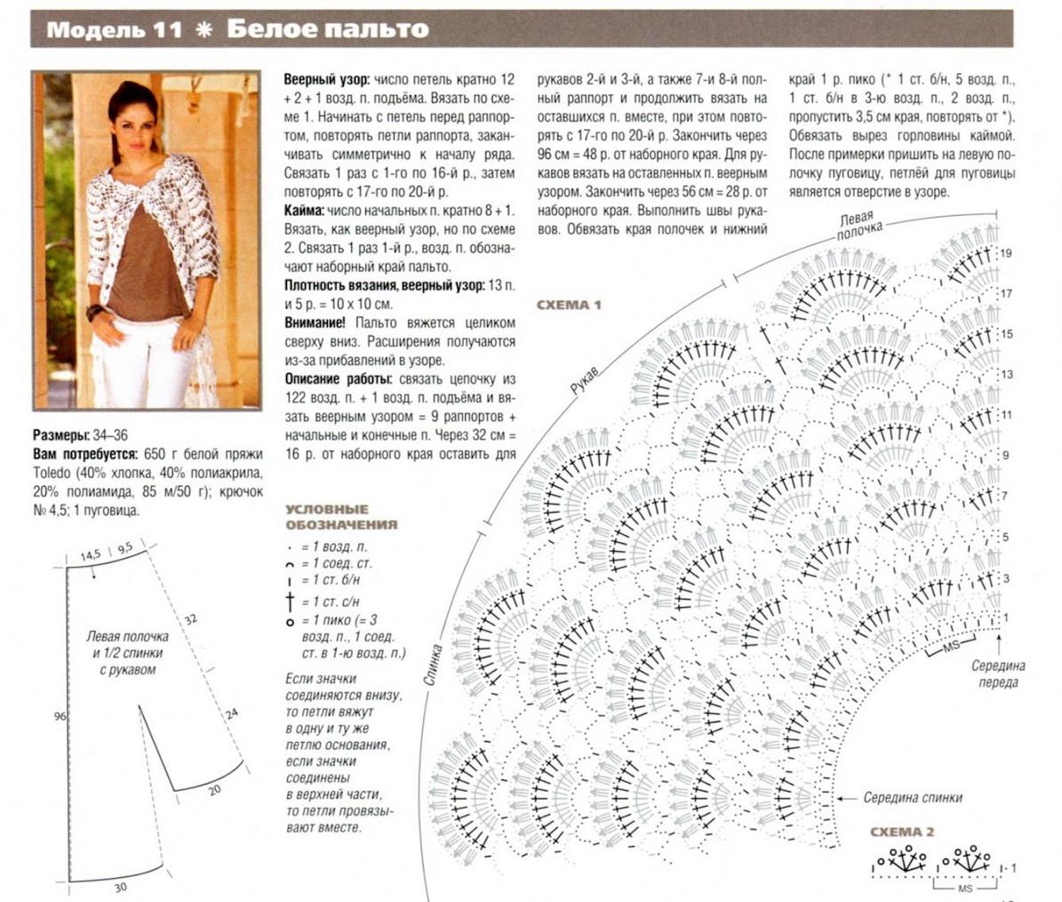 Кардиган вязаный крючком и схемы для женщин
