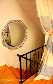 painted mirror and drop cloth on stairs