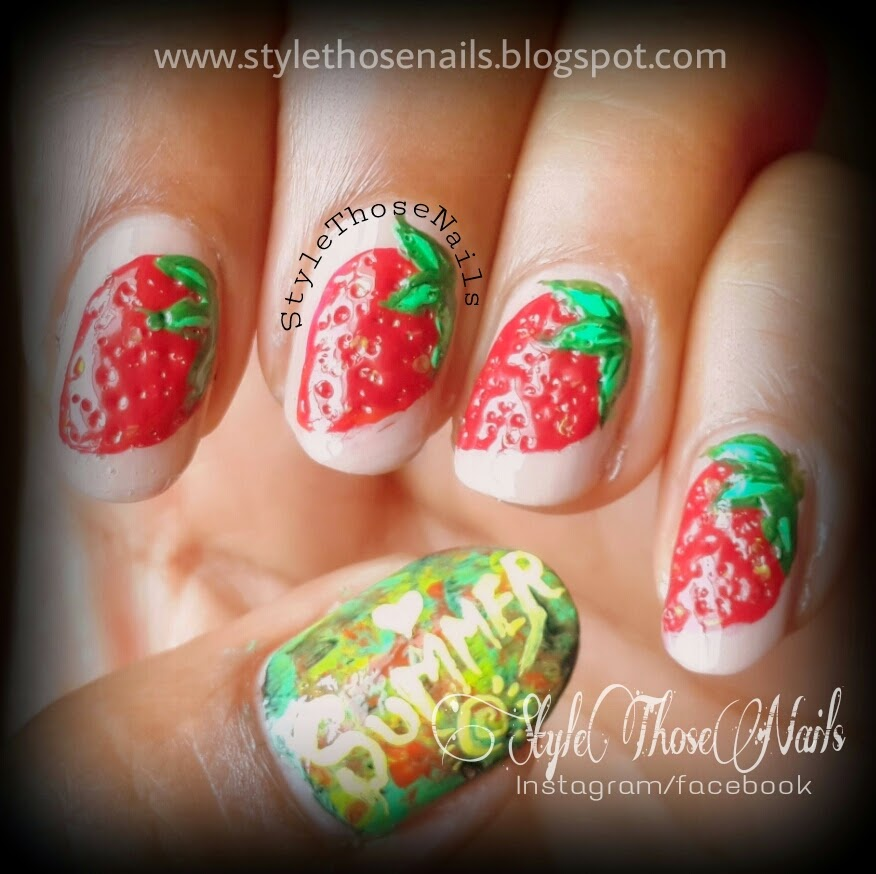 Style those nails strawberry nails summer fruits nail art strawberry nails summer fruits nail art prinsesfo Gallery