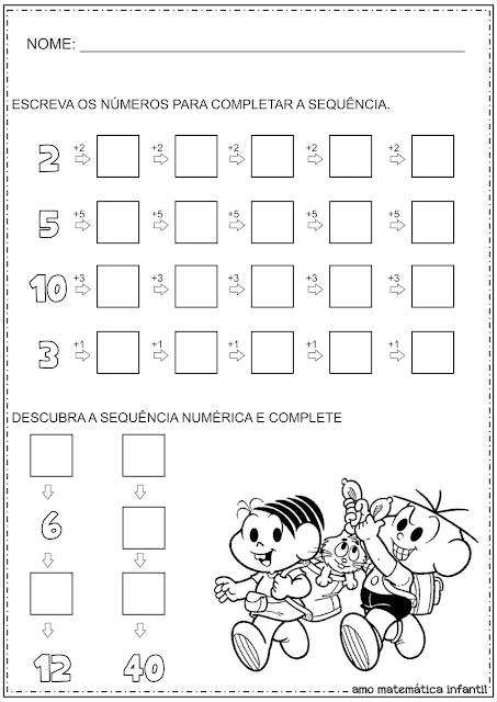 Sequência Numérica Atividade Educação Infantil