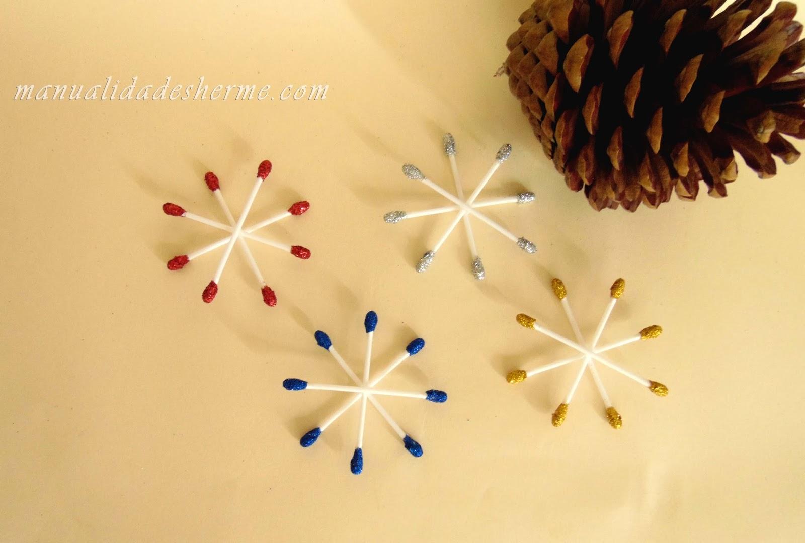 Manualidades herme hacer estrellas de navidad con bastoncitos - Como hacer estrellas de navidad ...