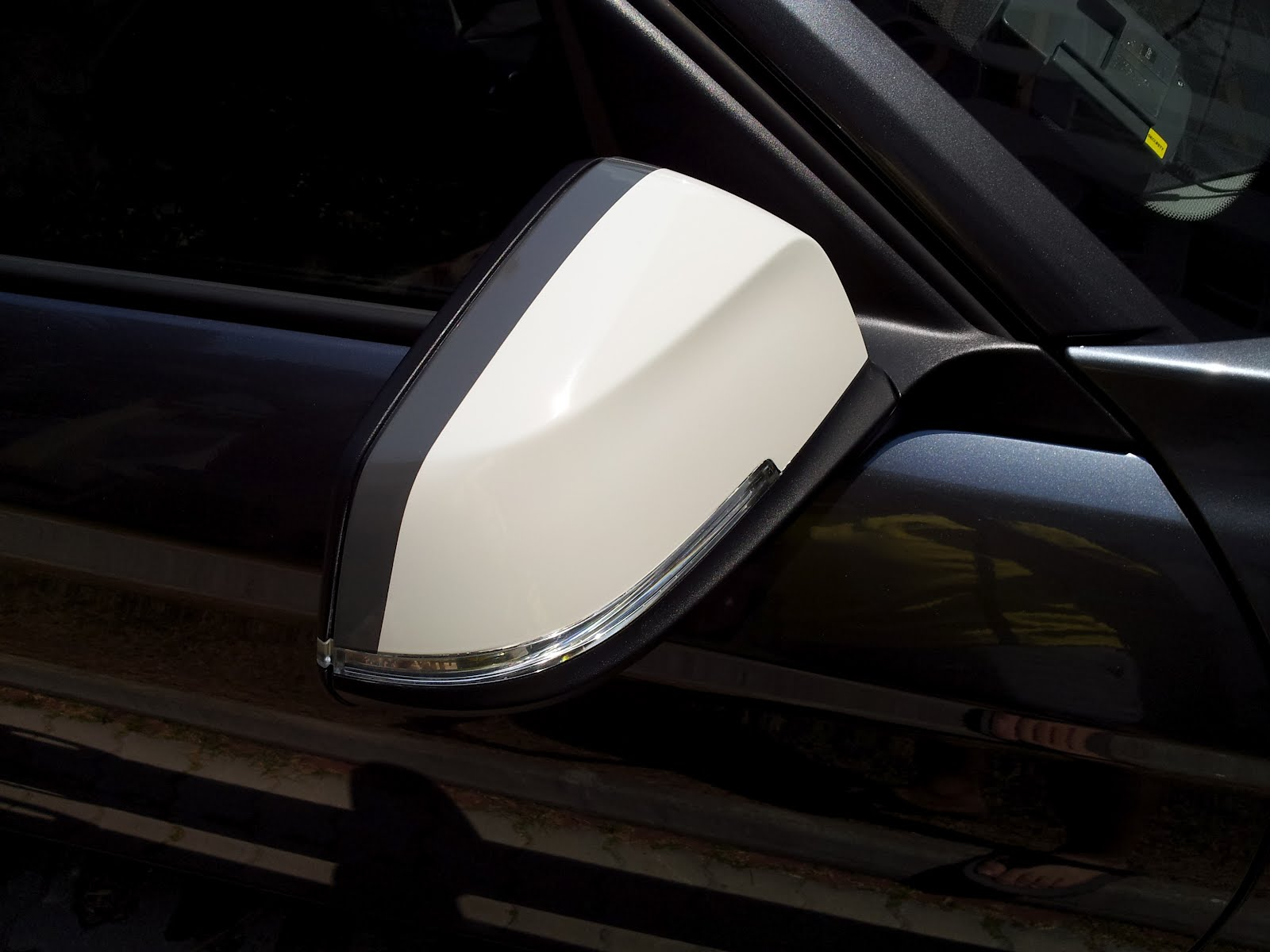Car side mirror sticker design -  Above Side Mirror Cap Resprayed Gloss Pearl White With The Grey Decal Sticker Depicting The M Colours Of White Grey And Black