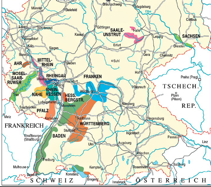Schiller wine visiting andrea and stephan herzer at their weingut picture map of german wine regions including saale unbstrut sciox Image collections