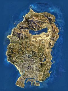 Vista satélite del mapa de GTA V