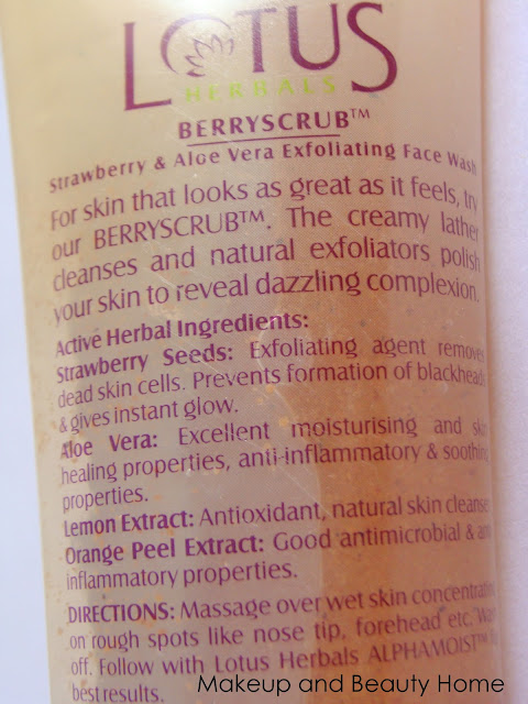 Lotus Herbals Berryscrub Strawberry & Aloe Vera Exfoliating Face Wash Review