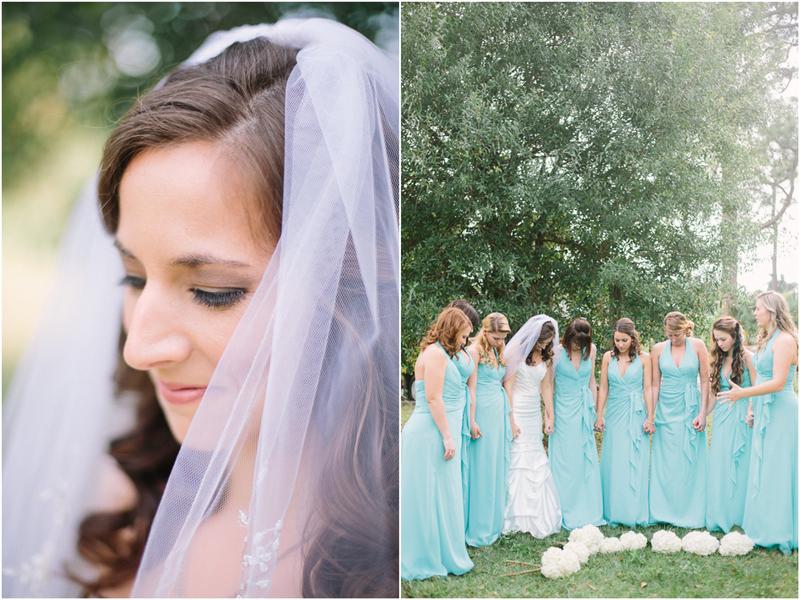 bridesmaids praying together