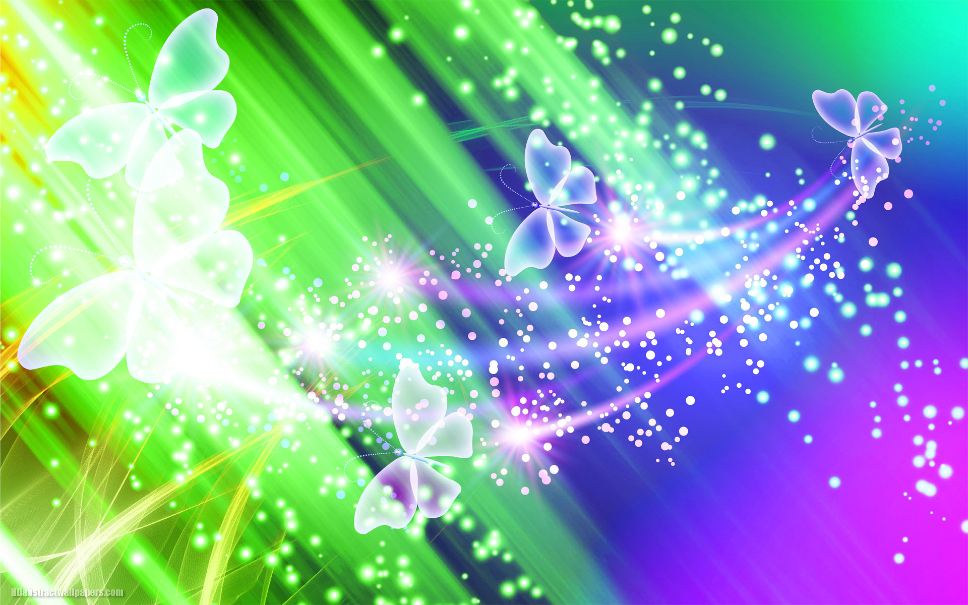 Colorful Abstract Wallpaper With Butterflies And Lights