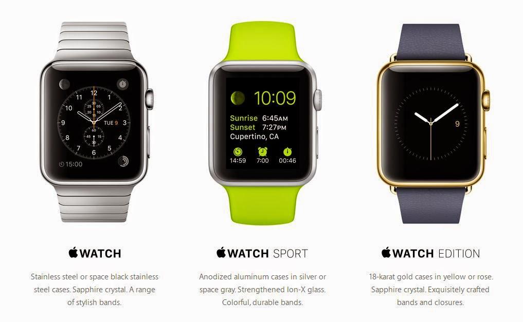 Apple Watch, Apple Watch Sport dan Apple Watch Edition