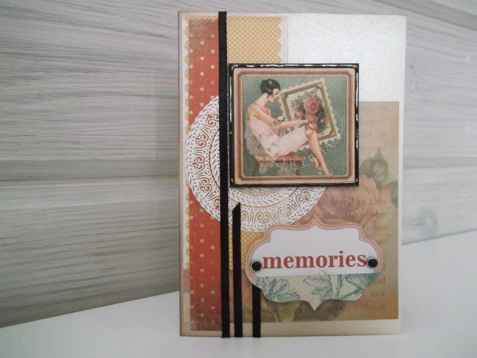 onnittelukortti naiselle, tekstikehys Memories, naisen kuva