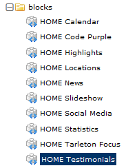 Screenshot of the content modules that make up the Tarleton homepage's main content section.