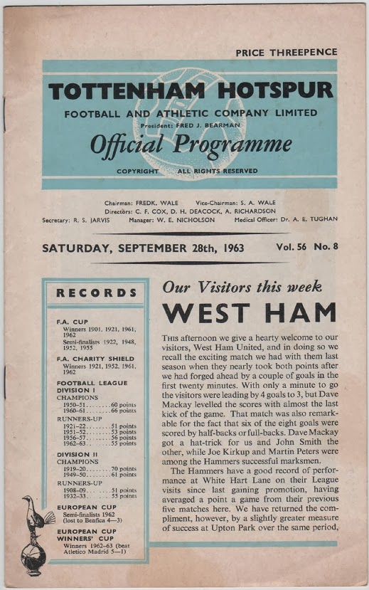 Football Programme for Tottenham Hotspur v West Ham United, September 1963