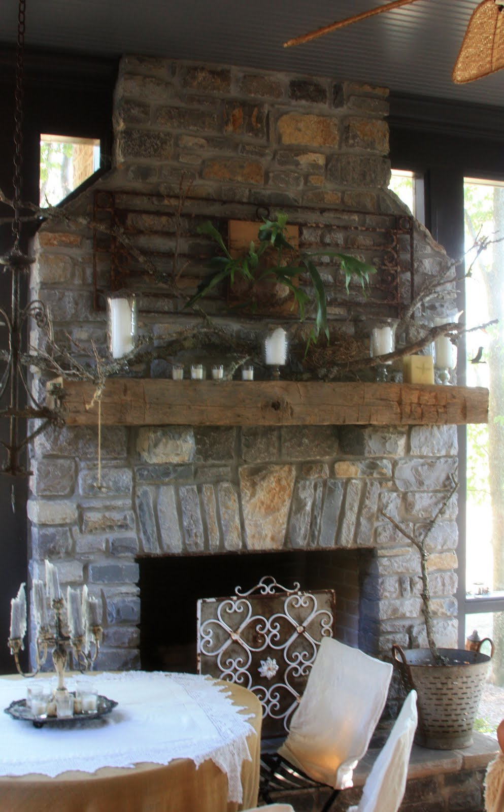 Erin 39 s art and gardens dreams for Screened in porch with fireplace