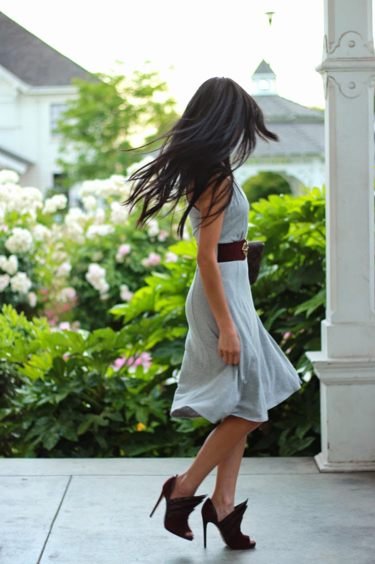 casual crossover draped grey dress