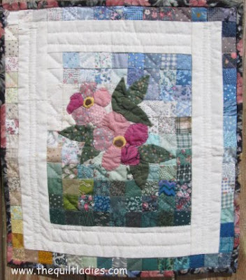 Pink Applique Flowers on Patchwork